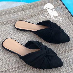 Shoes - Knotted Vegan Suede Slip On Black Mule Slides